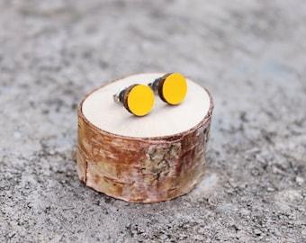 Geometric Wood Earrings // Mustard Earrings // Wood Earrings // Circle Earrings // Yellow Studs