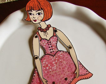 Original Fully Assembled Articutlated Renee the Parisianne Redhead Paper Doll