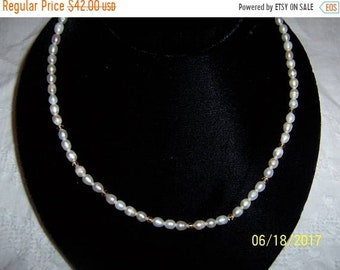 SUMMER SALE 20% OFF, Vintage White Fresh water rice pearls necklace.
