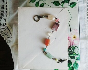 Colorful Beaded Bravelet, Chunky Vintage Bead Stacking Bracelet, Bohemian Jewelry, Rosary Style Pastel Bead Bracelet for Women
