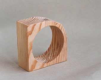 35 mm Wooden bangle unfinished corner - natural eco friendly IL35