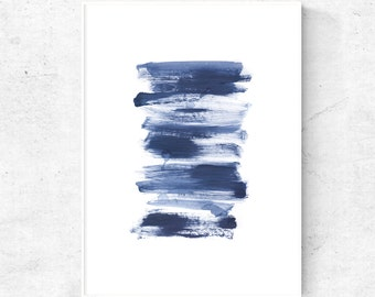 Modern abstract painting, watercolor printable, blue gray abstract wall art, abstract digital download, minimalist printable artwork, 11x14