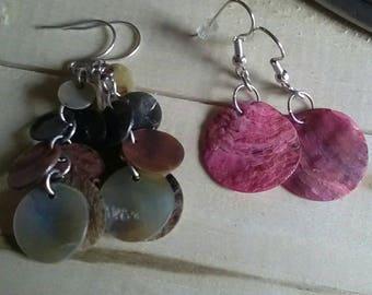 Beautiful Abalone Shell Dangle Earrings 2 pair 1 Single Shell 1 Multi Shells
