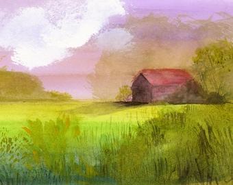 paysage peinture, ferme, campagne, art mural, décoration, vert, rouge, rose, reproduction de peinture originale est ferme-« petite grange »