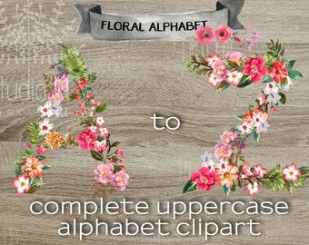 Floral Alphabet Clipart, scrapbook floral Alphabet, Floral Letters, Wedding Clipart, floral monogram .png, flower clipart letters