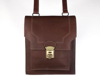 Leather Crossbody Bag, Brown Messenger Bag, Vintage-style Commuter Bag - the Westley