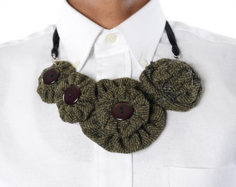 Wool vintage button necklace