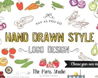 logo personnalisé design dessiné à la main logo cadre logo veggie logo alimentaire logo restaurant logo boutique logo site Web logo blog logo entreprise marque