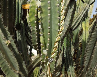 Kumihimo necklace green