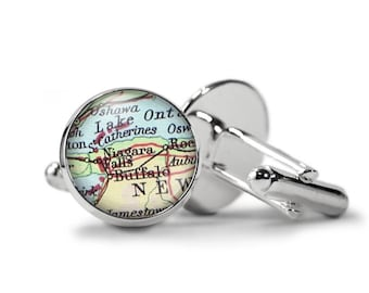 Custom Map Cufflinks, Vintage Atlas Cufflinks,  Personalized Cuff Links