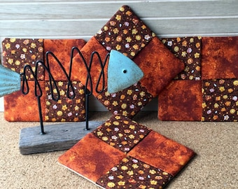 Coasters, Cotton Fabric Coasters, Brown Orange, Mug Rugs, Set of 4, Fall Colors, 100% Cotton