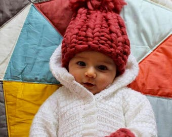 Big knit baby pom pom hat and mitt set pure merino gift Pewter