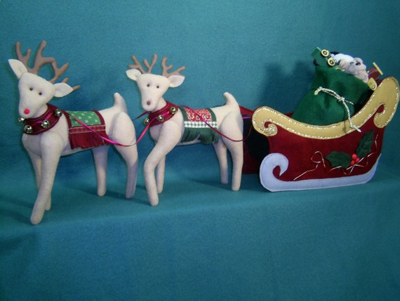 "Santa's Christmas Sleigh and Reindeer - Cloth Doll Epattern for sleigh and reindeer ""ONLY"". (Mema and PaPa pattern sold seperately.)"