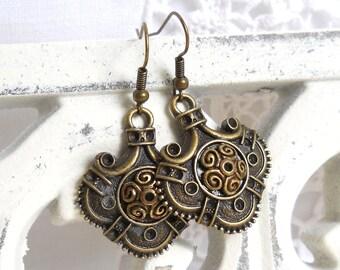 gypsy earrings bohemian earrings chandelier earrings boho earrings bronze earrings gypsy style earrings ethnic earrings