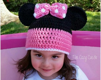 Minnie Mouse beanie/ Hat - crocheted Disney character hat