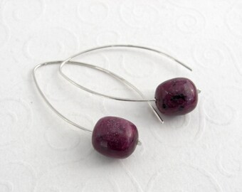 Modern leaf earrings ruby Zoisite, red gemstone earrings 925 sterling silver, handmade,
