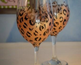 Handpainted Animal Print Wine Glass