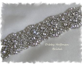 Pearl Bridal Belt, 41 inch Vintage Style Pearl Wedding Belt, Crystal Pearl Bridal Sash, Jeweled Wedding Dress Belt, Pearl Sash, No. 4069S-41
