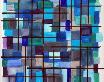 """Original Modern Abstract Watercolor Painting in Shades of Blue and Green - 9"""" x 12"""""""