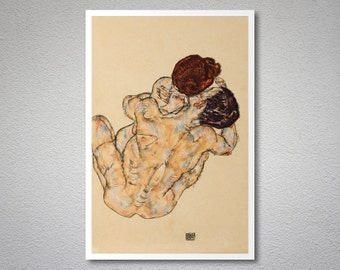 The Embrace , 1917 by Egon Schiele - Poster Paper, Sticker or Canvas Print / Gift Idea