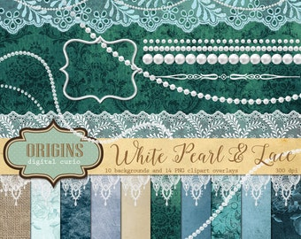 White Pearls and Lace Clipart, Digital Scrapbooking kit, White lace pearl clip art digital jewel shabby chic ivory aqua digital lace borders