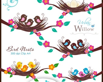 Bird Nests - Clip art set for small commercial and personal use.