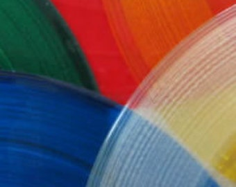 "5 assorted colored records red yellow green blue clear for art projects and crafts 7"" records Custom table numbers or party display"