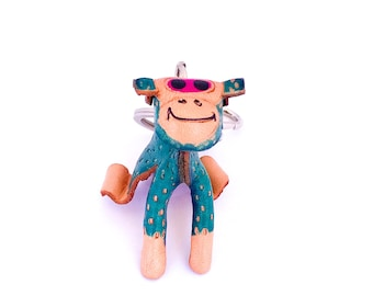 Cute Blue Monkey Keychain
