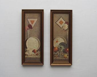vintage  framed prints- Set of 2  - Nice 60s/70s - Wall Hanging