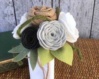 Felt Flower Bouquet, Farmhouse Style Bouquet, White and Gray Flowers, Felt Flowers, Mini Bouquet with Vase, 6""