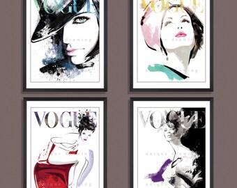 Fashion Illustration, fashion art print, Fashion poster, Vogue poster, Vogue print, Vogue magazine, fashion wall art, Set of 4 prints, 3265