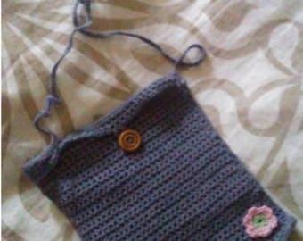 Yarn Purse Blue Gray