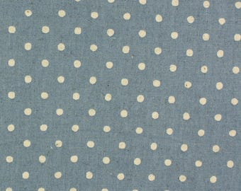 Linen Mix Polka Dot fabric from Sevenberry in blue Fat Quarter