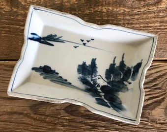 Small Vintage Blue and White Japanese Rectangular Tray Soap Dish