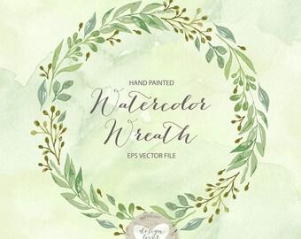 VECTOR Watercolor Leaves, Laurel and Wreath, wedding clip art, watercolor clip art, hand painted, leaves, watercolour clip art