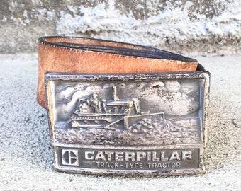 Vintage Caterpillar Dozer Buckle with Leather Belt