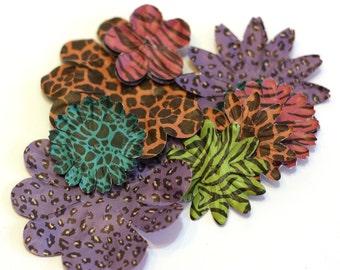 Bright Animal Print Paper Srapbooking Flowers - Zebra, Giraff, Leopard, Cheetah - Yellow, Purple, Pink, Orange, Turquoise