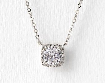 Silver Bridal Necklace, Cushion Cut Pendant Necklace, Bridal Jewelry, Wedding Jewelry, Bridal Accessories, White Gold Necklace, N521-S