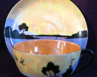 Meito China 6 hand painted lustre porcelain cups and saucers