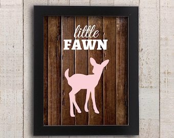 Baby Deer Nursery Print - Pink Little Fawn Girl Woodland Wall Art - Country Rustic Deer Print - Girly Home Decor - New Baby Shower