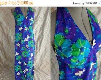 ON SALE 60s 70s Hawaiian Dress //  Vintage 60s 70s Blue Green Floral Hawaiian Halter Dress by Fumi's Original Sz S M
