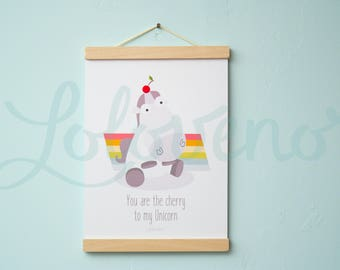 Poster and frame Design - You are the cherry to my Unicorn
