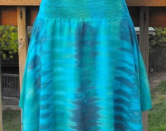 Tie Dye Hankie Hem Skirt in Island Greens