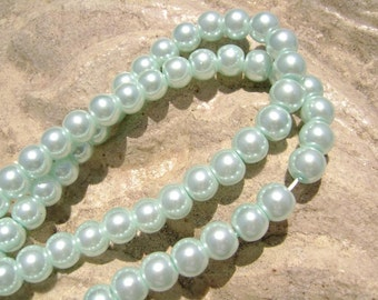 Pearlescent Glass Pearl Pearls Beads Baby Blue 4mm Round LARGE 30mm Strand