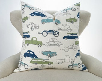 Vintage Cars Pillow Cover -MANY SIZES- Navy Blue Green Cushion Cover, Kids Room, Boys nursery, Retro Rides Felix Premier Prints, FREESHIP