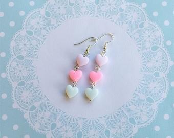 Kawaii pastel heart earrings
