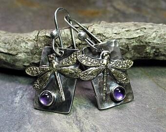 Dragonfly Earrings with Amethyst - Amethyst Moon