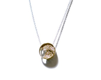 Necklace - rētic - modern pendant in bronze on sterling silver cable chain