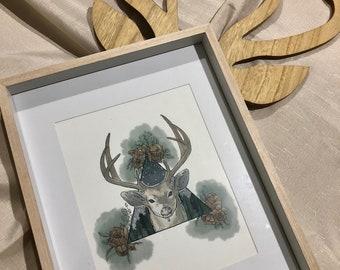 Night-Time Watercolour Deer Print - Original Art - A4 Illustration - Nursery Buck Print - Wall Art
