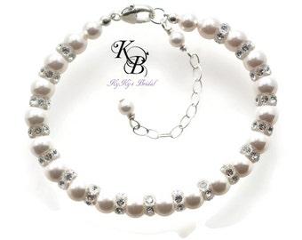 Pearl Bridal Bracelet ~ Wedding Jewelry ~ Bridesmaid Bracelets ~ Pearl & Crystal Wedding Bracelet ~ Bridal Jewelry ~ Bracelet for Bride